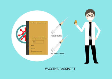 Vaccine passport for travel after two doses of covid-19 vaccination. Vector illustration of doctor holding vaccine passport and two doses of vaccination against coronavirus pandemic. Illusztráció