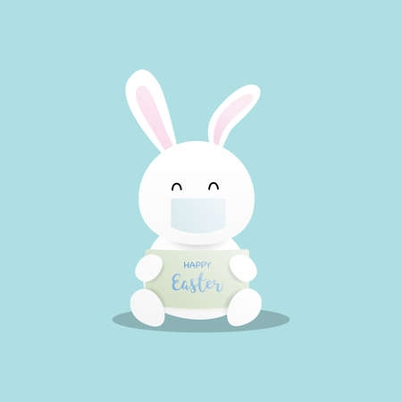 Happy easter. Cute rabbit wearing facemask on blue background. Vector illustration.