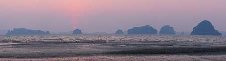 Panoramic view of beautiful sunset at Tubkaak beach, Krabi province, Thailand Stock fotó
