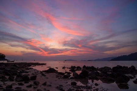 Beautiful twilight sky and the beach at Lipe island, Satun province, Thailand