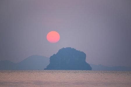 Scene of beautiful sunset at Tubkaak beach, Krabi province, Thailand