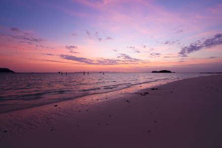 Scene of beautiful sky before sunrise at Lipe island, Satun province, Thailand.