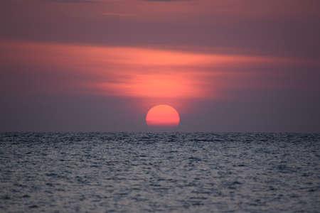 Beautiful sunrise over the sea at Lipe island, Satun province, Thailand.