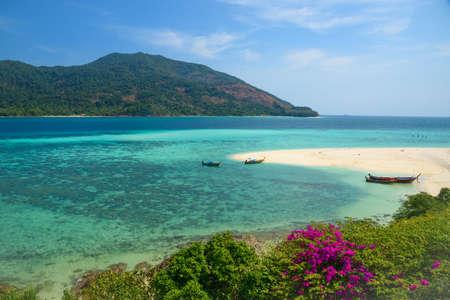 Beautiful beach and longtail boats at Lipe island, Satun province, Thailand. Stock fotó
