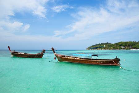 Longtail boats for tourists at Pattaya beach, koh Lipe, Satun, Thailand