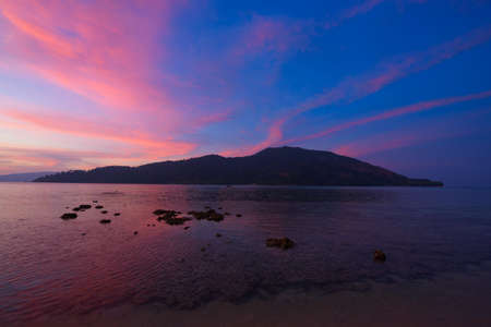 Scene of beautiful twilight sky at Lipe island, Satun province, Thailand.