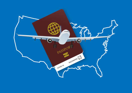 Reopening United States for airline travelling with health passport after coivd-19 vaccination. Illustration of USA map, health passport and airplane.