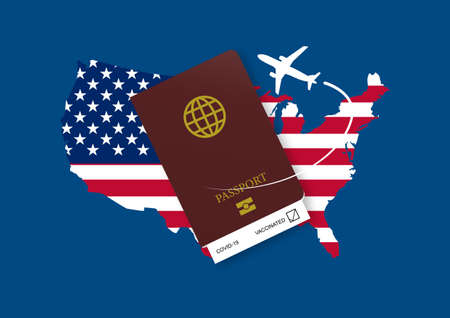 Reopening United States for airline travelling with health passport after coivd-19 vaccination. Illustration of USA flag and map, health passport and airplane.