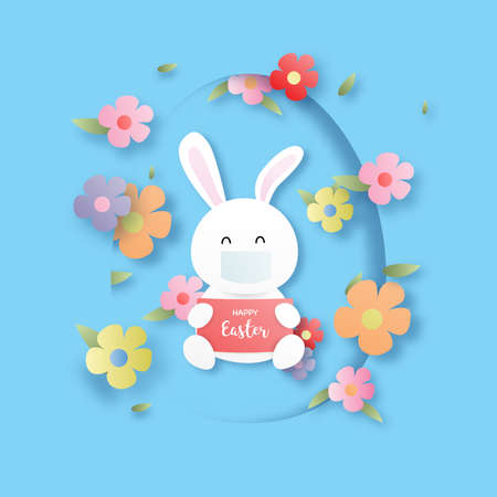 Happy easter. Cute rabbit wearing facemask and multicolored flowers. Papercut background. Stock fotó