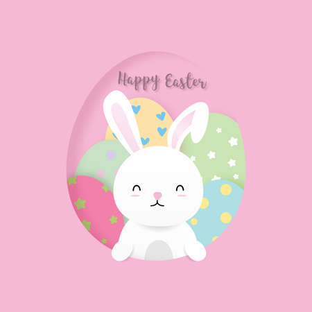 Happy easter. Cute bunny and colored easter eggs on pink background. Papercut background illustration. Stock fotó