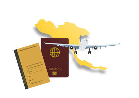 Concepts of reopening airplane travel in Thailand after vaccination . Illustration of Thailand map, airplane, passport and vaccination certificate. Vector illustration. Ilustracje wektorowe