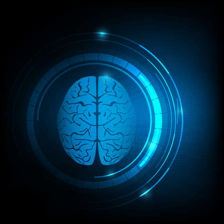 Technology background of human brain and electroencephalogram or brain waves.