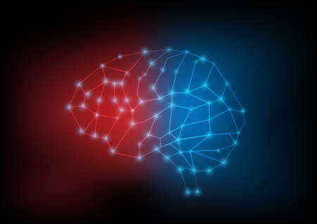 Illustration of human brain outline and connection on blue and red background. Stock fotó