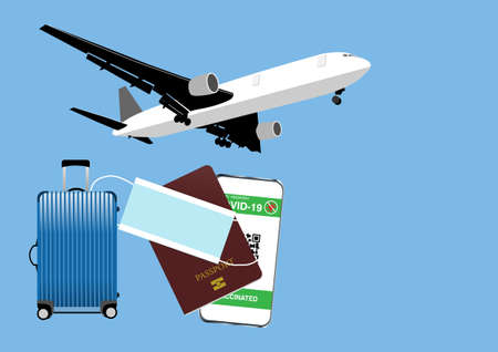 Airplane travel after covid-19 vaccination with health passport. Illustration of facemask, travel bag, passport and digital vaccine passport identification in mobile phone.
