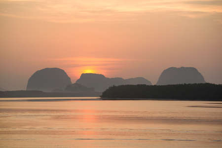 Scene of beautiful sunrise at Sam-Chong-Tai village, Phang-Nga, Thailand