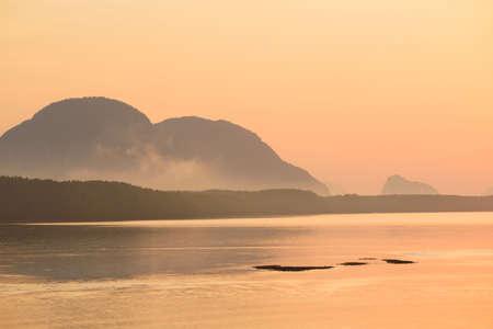View of beautiful sunrise sky and mountain at Sam chong tai, Phang-nga province, Thailand Stock fotó