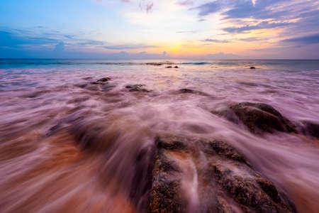 Scene of sea wave and sunset at Naithon beach, Phuket, Thailand. Stock fotó