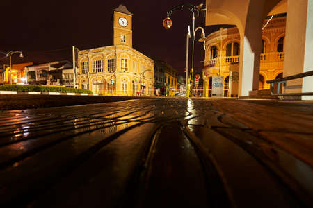 Phuket, Thailand-April 14,2021: View of Museum Phuket, the old chino-portuguese building style in the city of Phuket on twilight background