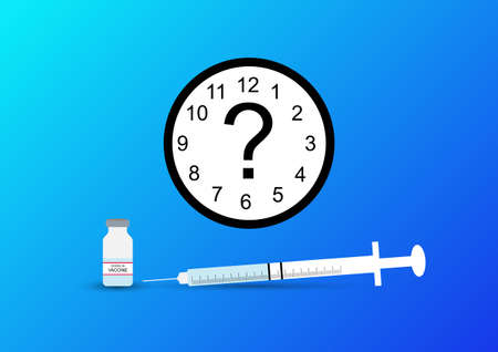 Concept of how long immunity will last after covid-19 vaccination. Illustration of syringe, vaccine and clock.
