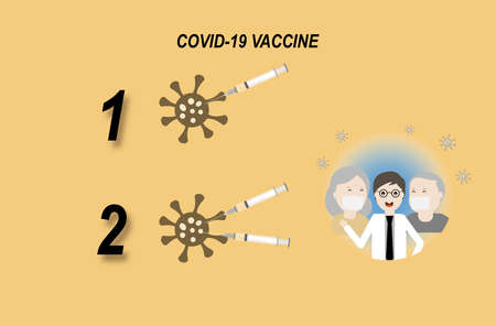 Two doses vaccine for coronavirus or covid-19 protection. Illustration of coronavirus, syringe and needle, doctor and elderly with antibody protection. Stock fotó
