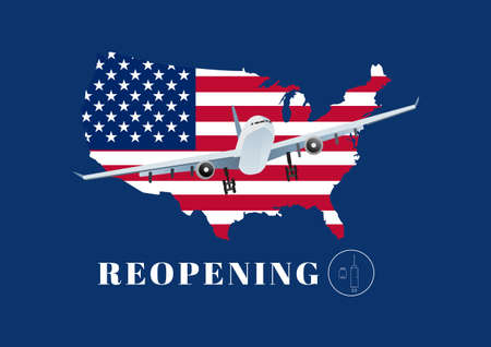 Reopening United States for airline travelling after coivd-19 vaccination. Illustration of airplane, USA flag and map, .