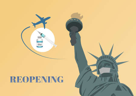 Reopening America after covid-19 vaccination. Illustration of liberty statue, airplane,covid-19 vaccine, syringe and needle. Illusztráció