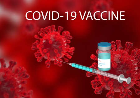Illustration of coronavirus vaccine and syringe with needle. Background 3D rendering microscopic view of pandemic coronavirus.