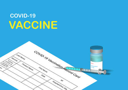 Illustration of covid-19 vaccine, syringe and vaccination record form on blue background. Vector illustration.