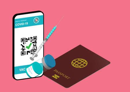 Illustration of digital health passport in smartphone, passport, covid-19 vaccine and syringe. Illusztráció
