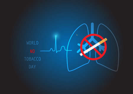 Stop smoking. World no tobacco day background. Vector illustration of smoking danger to heart and lung.