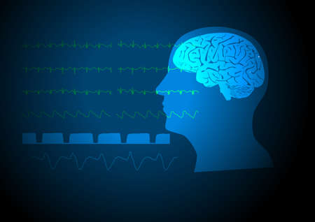 Illustration of human brain and vital signs on monitoring during neuroanesthesia. Vector Illustration