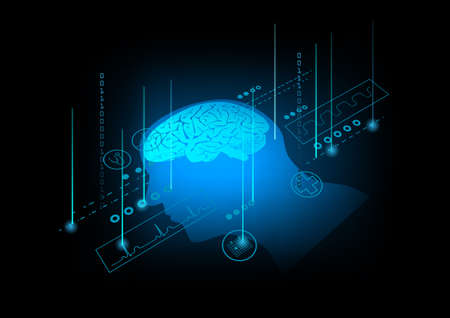 Illustration of human brain on technology background. Icons of medical signs.