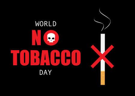 World no tobacco day. Illustration of no cigarette sign and skull in text. Illusztráció