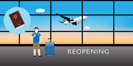 Reopening airplane travel after covid-19 vaccination. Illustration of tourist and luggage at airport with health passport.