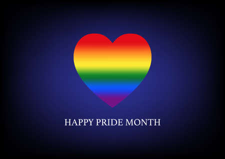 Happy pride month. Vector illustration rainbow heart LGBT symbol. Illusztráció