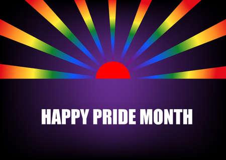 Happy pride month. Vector illustration of rainbow ray and sunrise. LGBT symbol. Illusztráció