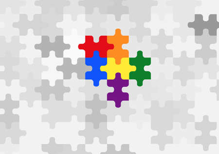Background pattern of rainbow puzzle. Symbol of lesbian, gay, bisexual, transgender and peace. Pride month.