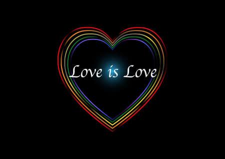 Multicolor rainbow heart shape on black background. LGBT, gay pride symbol
