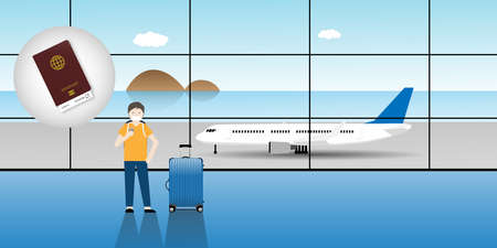 Reopening airplane travel after  vaccination. Illustration of tourist and luggage at airport with health passport.