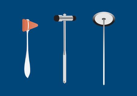 Vector illustration different styles of reflex hammer for neurological examination on blue background. Illustration