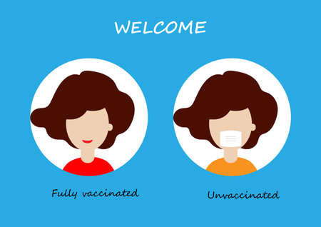 Face mask not required for fully vaccinated and required in unvaccinated banner. Vector illustration of woman smiling without mask. Illustration