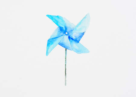 Blue wind turbine on white background. Kid toy. Watercolor painting. Stock Photo