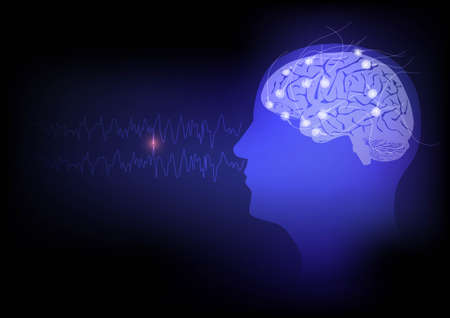 Illustration of human brain and electroencephalography or EEG recording and brain waves Stock Photo