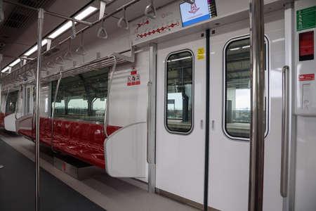 Bangkok, Thailand-August 2, 2021: Interior of red line commuter train service running between city of Bangkok and suburbans Editorial