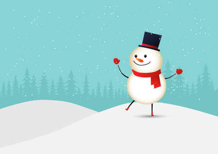 Merry Christmas. Cute smiling snowman with red scarf in winter. Vector illustration.