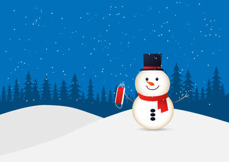 Happy snowman celebrating christmas without wearing face mask. Background of winter landscape. Illustration