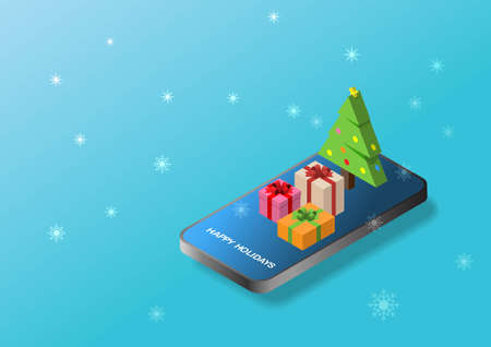 Online shopping. Vector illustration of mobile phone, Christmas gifts, snnowflakes. Isometric illustration.