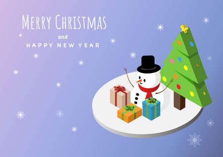 Isometric illustration snowman, Christmas gifts and pine tree on snowflakes background. Vector illustration.
