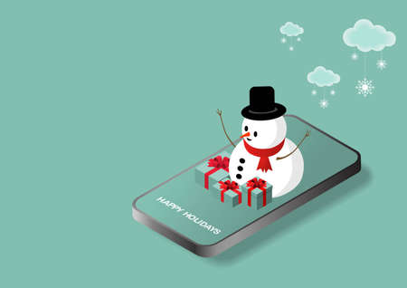 Online shopping. Vector illustration of mobile phone, Christmas gifts, snowflakes and snowman. Isometric illustration. Illustration