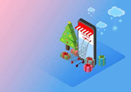 Merry Christmas. Shopping online with mobile store. Shopping cart, gifts and pine tree.